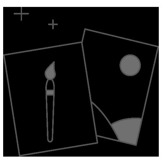Un dibujo con dos cuadrados con un pincel y un paisaje
