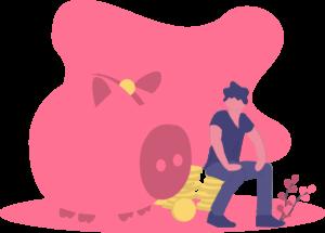 Hombre con su hucha de cerdito gigante